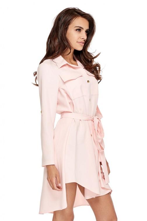 CM3505 Nowoczesna sukienka o militarnym wyglądzie - różowa