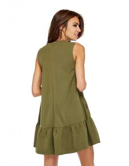 Elegancka sukienka bez rękawów z falbanką - khaki
