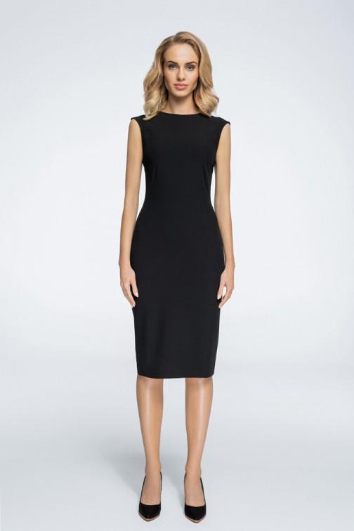 CM3060 Sukienka z przeszyciami przy rękawach - czarna