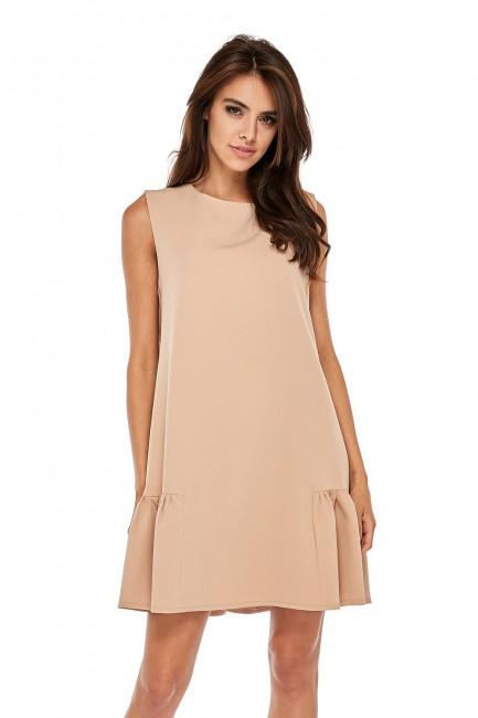 Elegancka sukienka bez rękawów z falbanką - beżowa