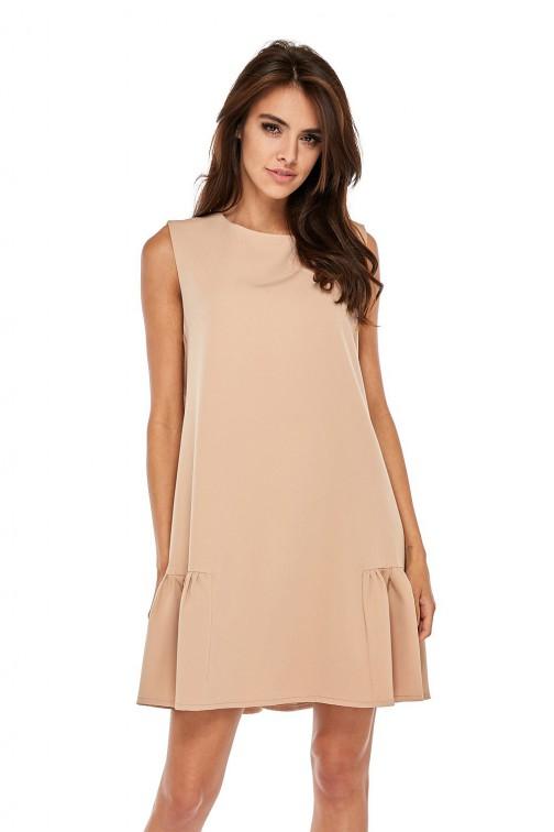 CM3506 Elegancka sukienka bez rękawów z falbanką - beżowa