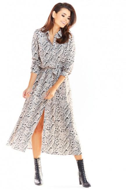 Sukienka maxi o koszulowej górze - szary wzór