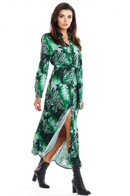 CM4882 Sukienka maxi o koszulowej górze - zielony wzór