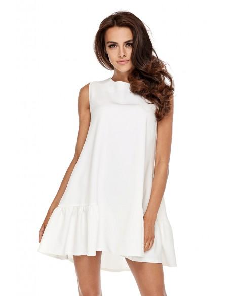 Elegancka sukienka bez rękawów z falbanką - biała