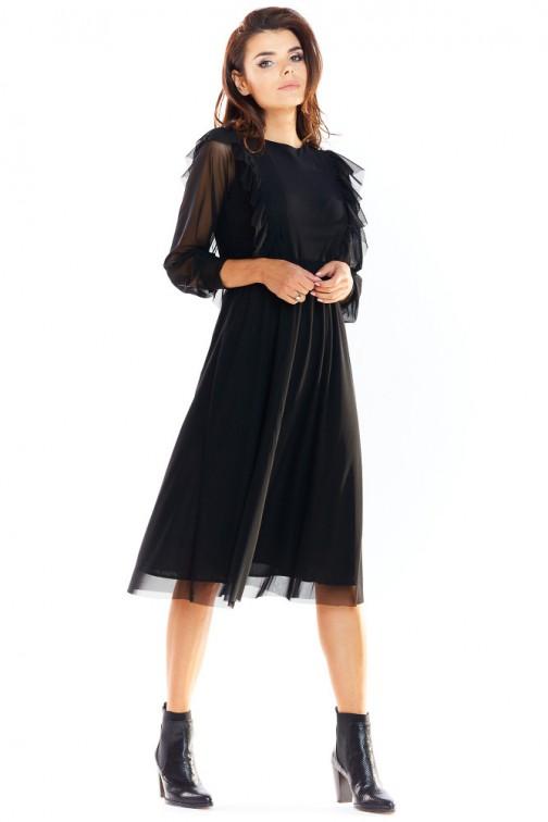 CM4885 Elegancka sukienka tiulowa - czarna