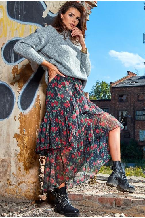 Asymetryczna spódnica tiulowa maxi - wzór 1