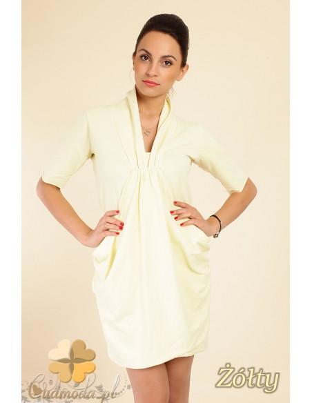 luźna mini sukienka tunika z kieszeniami - żółta