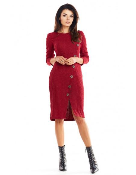 Ciepła dopasowana sukienka - bordowa