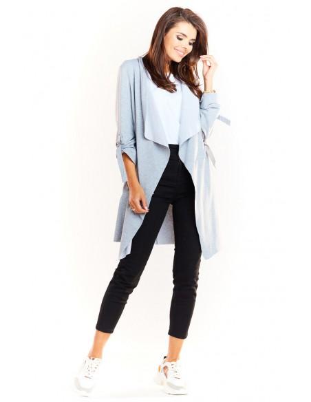 Dzianinowa bluza typu trencz - szara