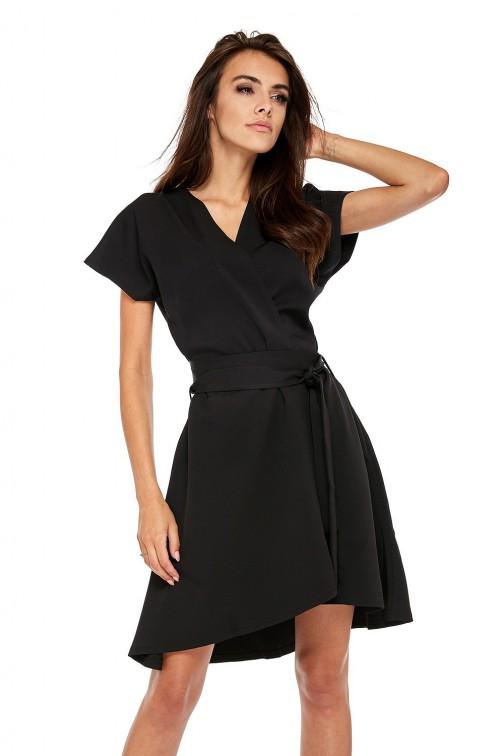 CM3510 Trapezowa sukienka z kopertowym dekoltem - czarna
