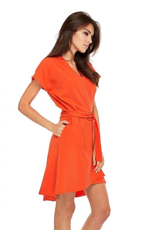 CM3510 Trapezowa sukienka z kopertowym dekoltem - pomarańczowa