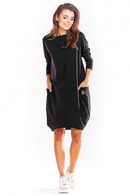 Sukienka tuba z długim rękawem - czarna
