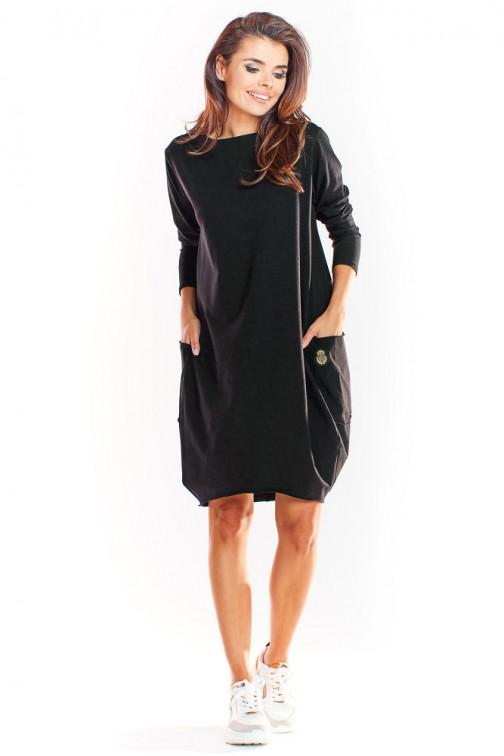 CM4915 Sukienka tuba z długim rękawem - czarna