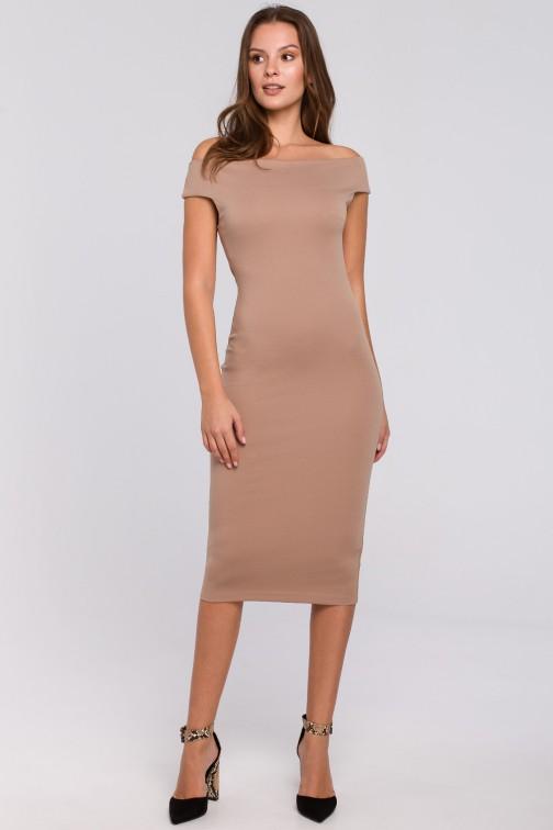 CM4940 Dzianinowa sukienka midi - beżowa