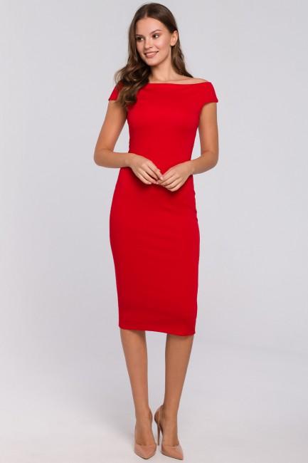 Dzianinowa sukienka midi - czerwona