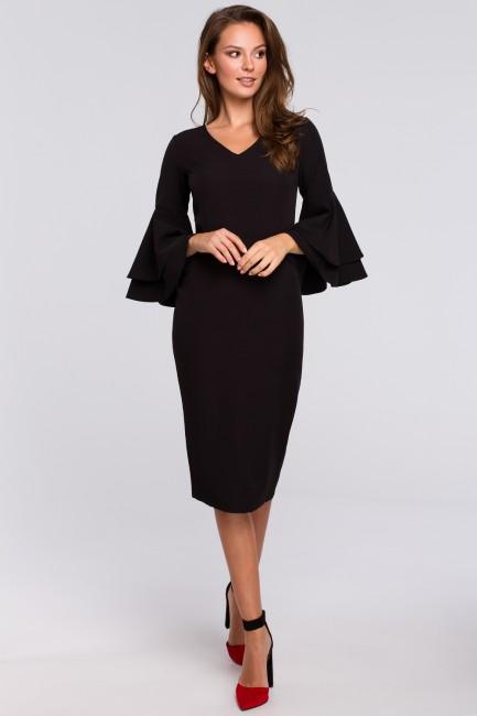 Sukienka z falbanami przy rękawach - czarna