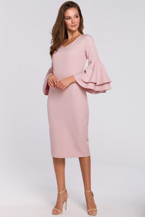 Sukienka z falbanami przy rękawach - różowa
