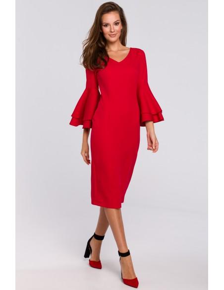 Sukienka z falbanami przy rękawach - czerwona