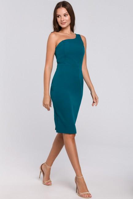 Sukienka na jedno ramię - morska