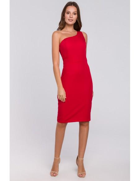 Sukienka na jedno ramię - czerwona