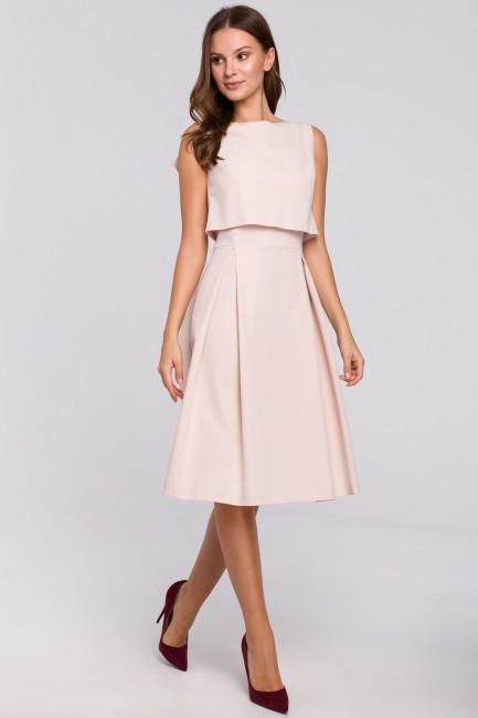 Rozkloszowana sukienka ze skrzydełkami - beżowa