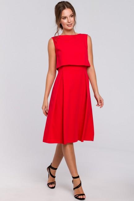 Rozkloszowana sukienka ze skrzydełkami - czerwona