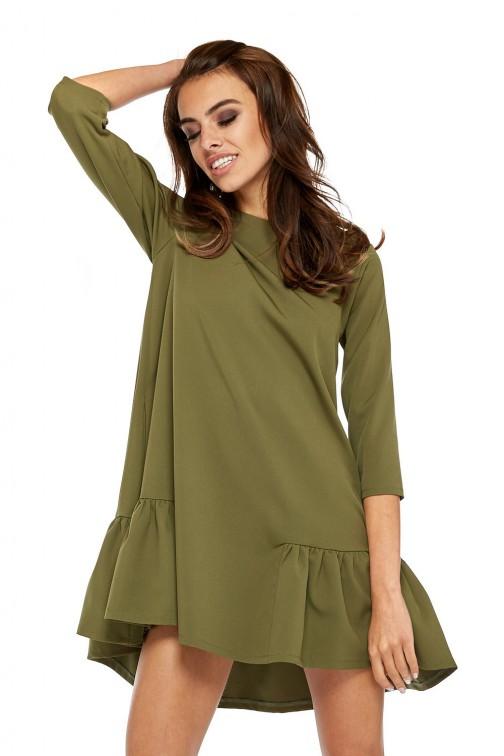 CM3512 Szykowna sukienka z rękawem 3/4 i falbanką - khaki