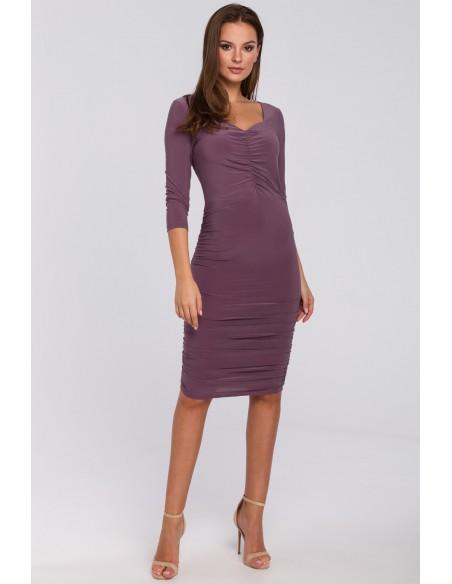 Sukienka z marszczeniami - wrzosowa