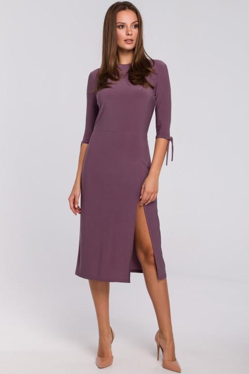 CM4946 Sukienka z wiązaniami przy rękawach - wrzosowa