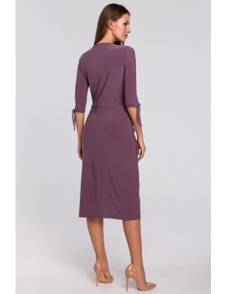 Sukienka z wiązaniami przy rękawach - wrzosowa