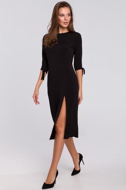 Sukienka z wiązaniami przy rękawach - czarna