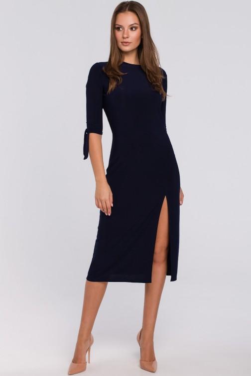 Sukienka z wiązaniami przy rękawach - granatowa