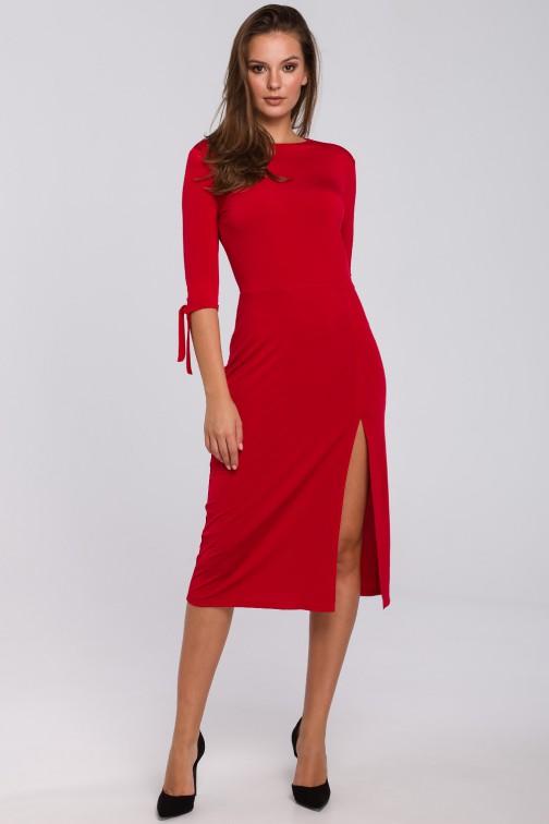 CM4946 Sukienka z wiązaniami przy rękawach - czerwona