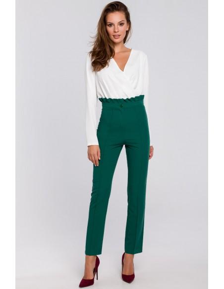 Spodnie z wysokim stanem i falbanką - zielone