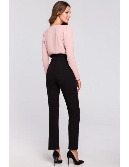 Spodnie z wysokim stanem i falbanką - czarne