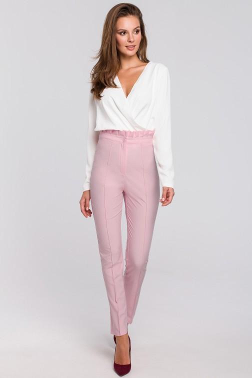 CM4947 Spodnie z wysokim stanem i falbanką - liliowe