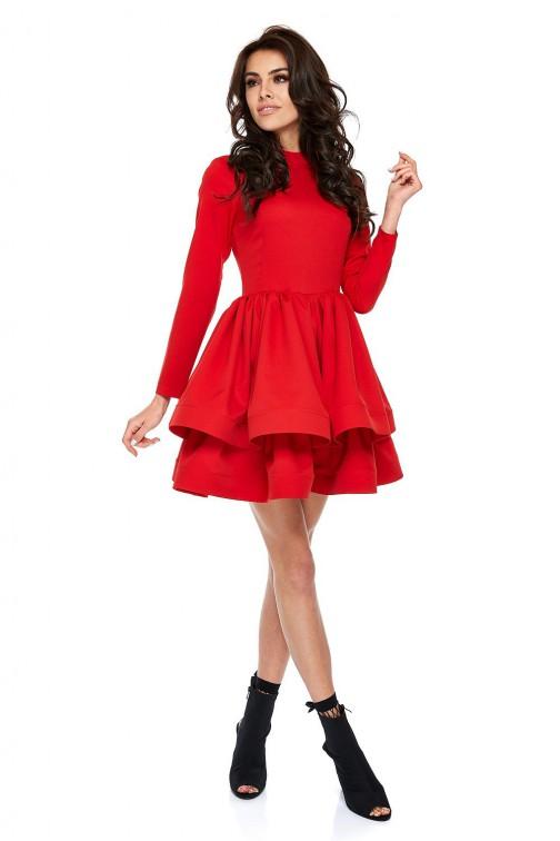 CM3513 Rozkloszowana sukienka z podwójnym dołem - czerwona