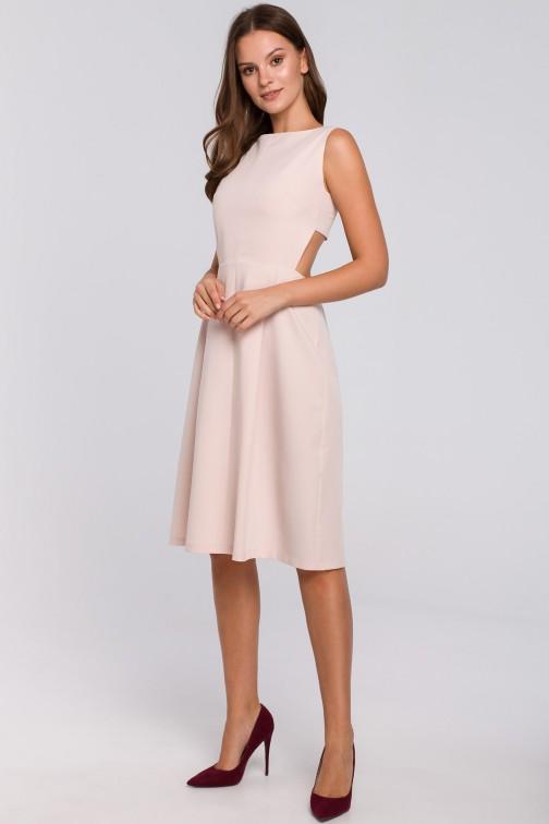 CM4950 Sukienka z odkrytymi plecami - beżowa