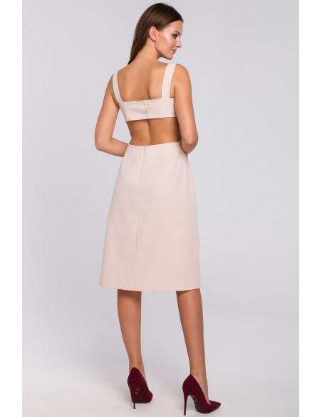 Sukienka z odkrytymi plecami - beżowa