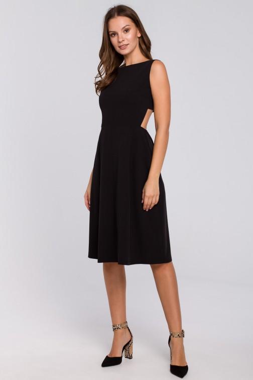 CM4950 Sukienka z odkrytymi plecami - czarna