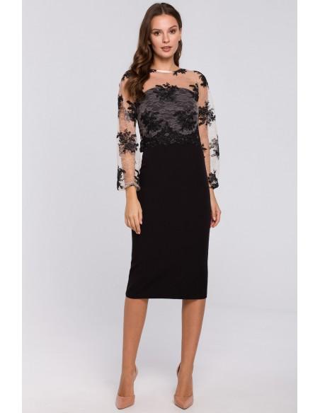Sukienka ołówkowa z koronkową górą - czarna