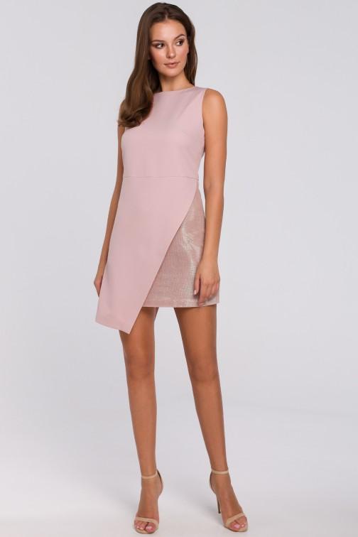 Krótka sukienka dwuwarstwowa - brudno-różowa