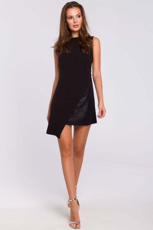 CM4953 Krótka sukienka dwuwarstwowa - czarna
