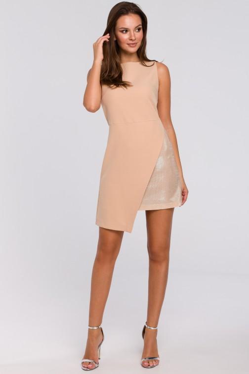 CM4953 Krótka sukienka dwuwarstwowa - beżowa