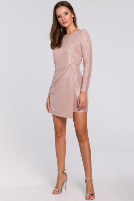 Sukienka z podwójnym dołem - pudrowa