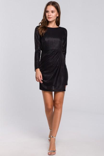 Sukienka z podwójnym dołem - czarna