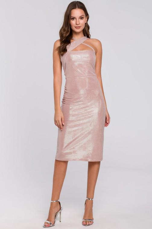 CM4955 Sukienka z dekoltem na krzyż - pudrowa