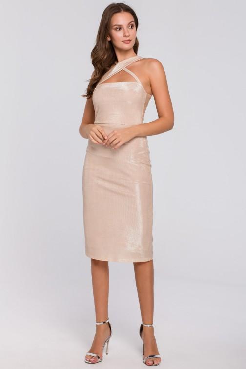 CM4955 Sukienka z dekoltem na krzyż - beżowa