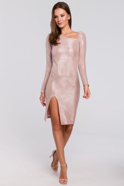 CM4956 Sukienka z bufiastymi rękawami - pudrowa