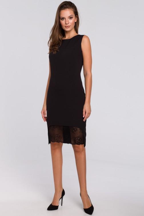 CM4958 Sukienka z koronką u dołu - czarna